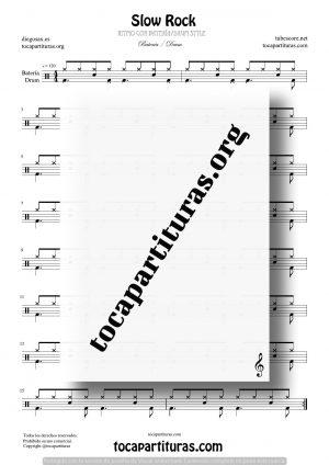 Slow Rock Partitura Fácil de Batería (Drum Styles)