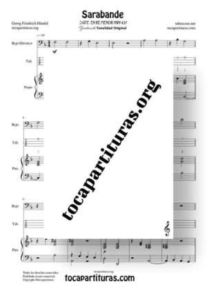 Sarabande de Haendel Partitura y Tablatura del Dúo de Bajo Eléctrico Punteo + Piano Acompañamiento