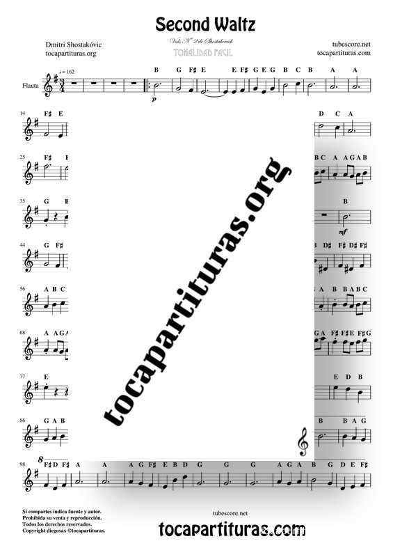 Second Waltz Easy Notes PDF and MIDI Sheet Music for Flute Violin Oboe Recorder... Treble Clef Instruments_000001
