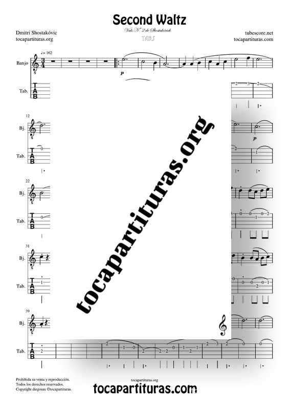 Waltz Nº 2 de Shostakovich Partitura Tablatura de Banjo (Tabs)
