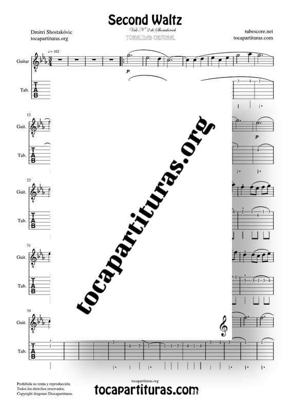 Waltz Nº 2 de Shostakovich Partitura Tablatura de Guitarra (Guitar Tabs)