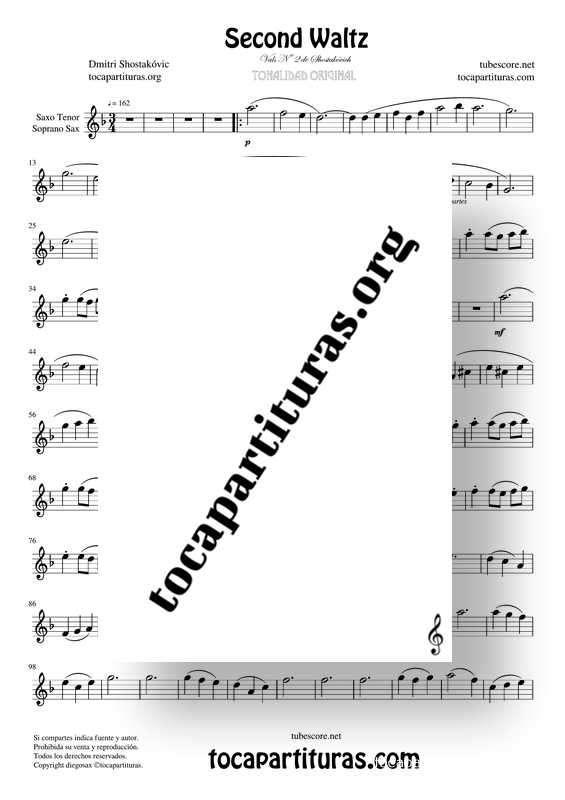 Waltz Nº 2 de Shostakovich Partitura de Saxofón Tenor / Soprano Saxophone