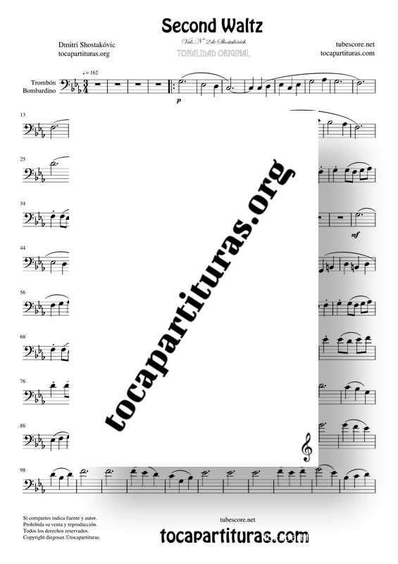 Waltz Nº 2 de Shostakovich Partitura de Trombón / Bombardino