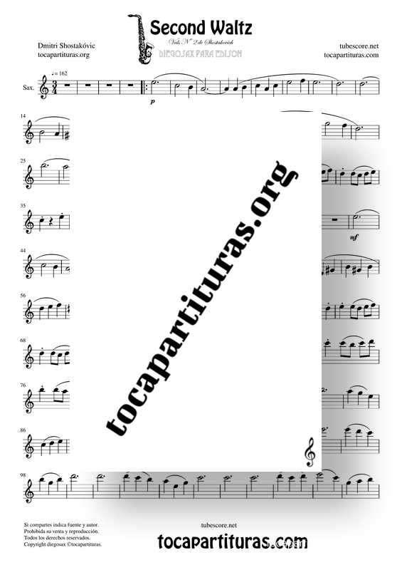 Waltz Nº 2 de Shostakovich Partitura de Saxofón Alto / Saxo Barítono (Saxophone Eb)