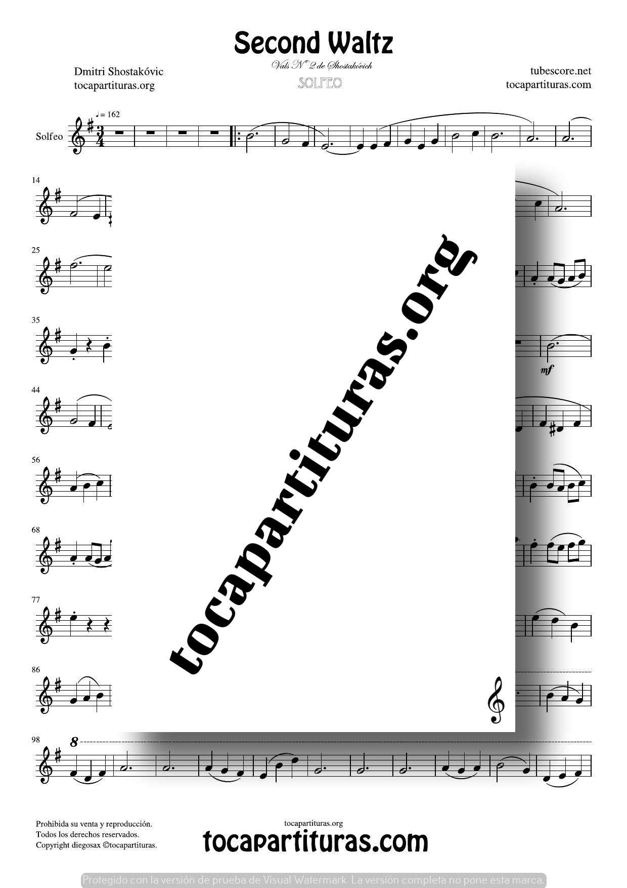 Waltz Nº 2 de Shostakovich Partitura de Solfeo (Entonación y Ritmo)