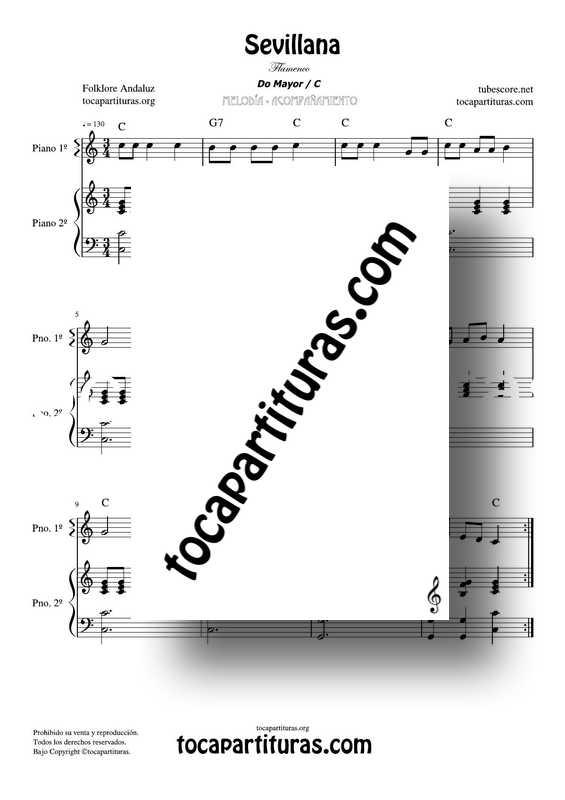 Sevillana Partitura Fácil de Piano en Do Mayor Flamenco Song