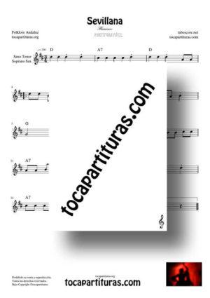 Sevillana Partitura Fácil de Saxofón Tenor / Soprano Sax