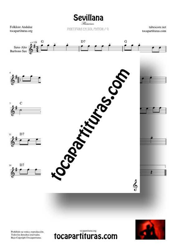 Sevillana Partitura en Sol Mayor de Saxofón Alto y Barítono Sax G (Flamenco Folklore Andaluz)
