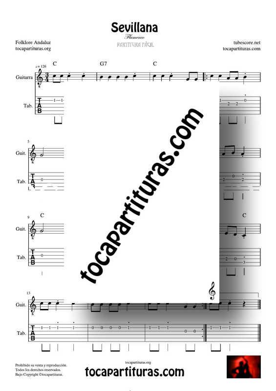 Sevillana Partitura y Tablatura Fácil del Punteo de Guitarra (Tabs) Flamenco Folklore Andaluz_000001