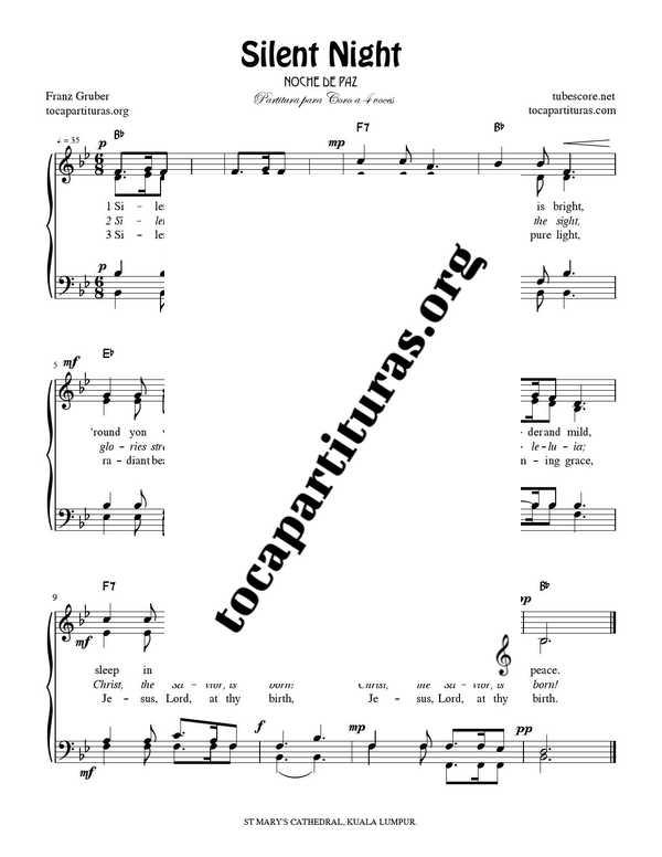 Silent Night Chorus PDF MIDI Sheet Music for 4 voice SATB CORO Feliz Navidad