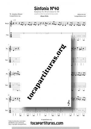 Sinfonía n.º 40 (Mozart) Partitura Tablatura de Banjo (Tabs)