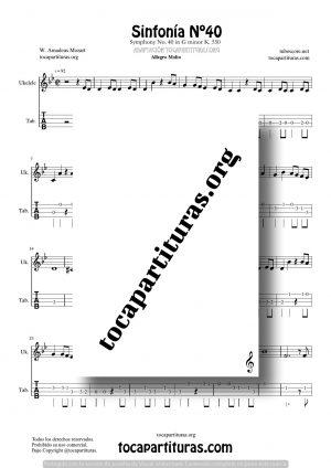 Sinfonía n.º 40 (Mozart) Tablatura y Partitura del Punteo de Ukelele (Guitar Tabs)