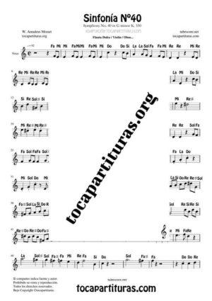 Sinfonía n.º 40 (Mozart)  Partitura con Notas en letra en Clave de Sol