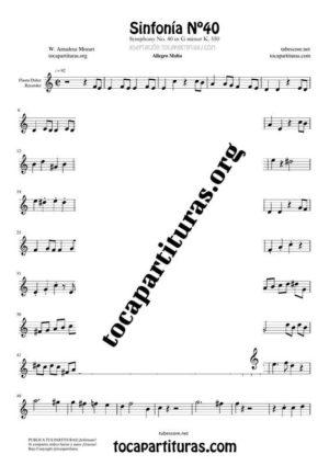 Sinfonía n.º 40 (Mozart) Partitura de Flauta Dulce o Flauta de Pico (Recorder)
