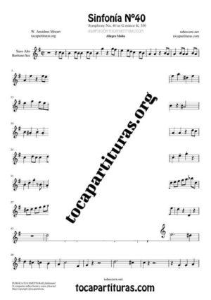 Sinfonía n.º 40 (Mozart) Partitura de Saxofón Alto / Saxo Barítono Mi bemol (E Flat Saxophone)