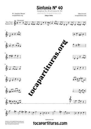 Sinfonía n.º 40 (Mozart) Partitura de Saxofón Tenor / Soprano Sax Si bemol (B Flat Saxophone)