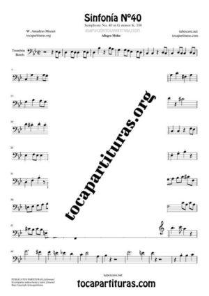 Sinfonía n.º 40 (Mozart) Partitura de Trombón / Bombardino (Trombone / Euphonium)