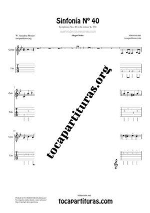 Sinfonía n.º 40 (Mozart) Tablatura y Partitura del Punteo de Guitarra (Guitar Tabs)