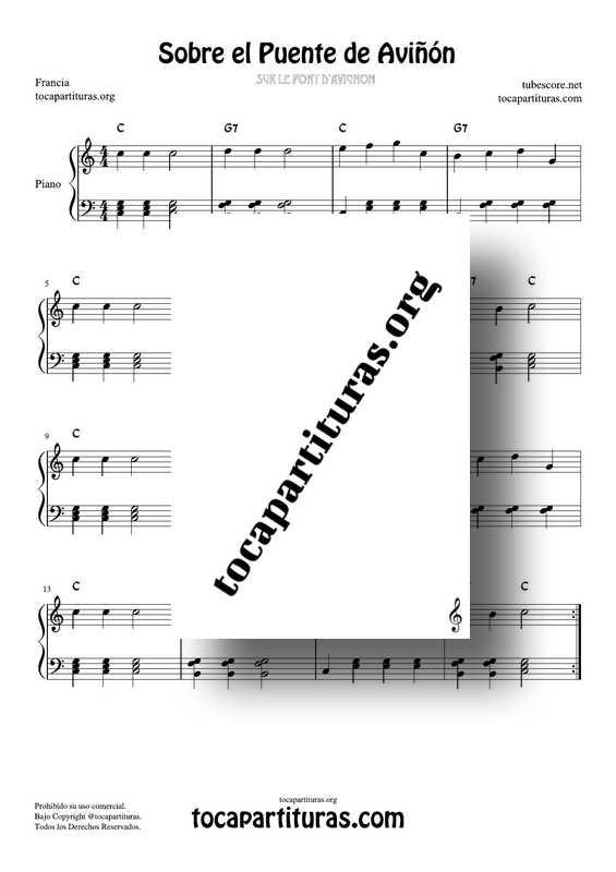 Sobre el Puente de Aviñon Partitura PDF y MIDI de Piano Fácil en Do Mayor
