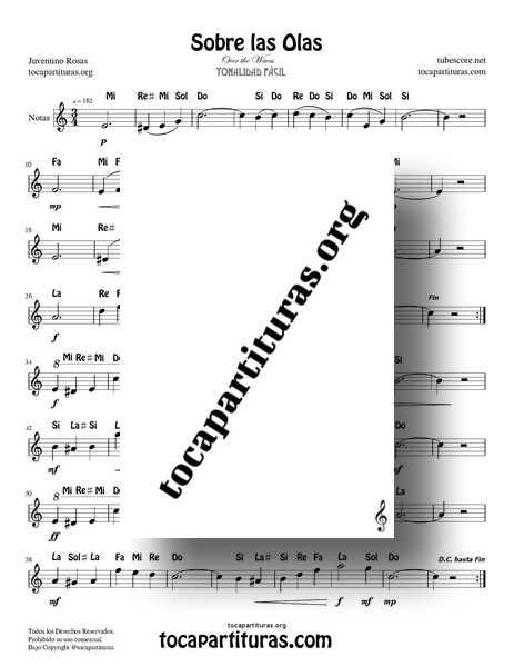 Sobre las Olas Partitura Fácil PDF Y MIDI con Notas de Flauta Dulce o de Pico (Over the Waves) Flautas Violin Oboe... Do Mayor Tonalidad Fácil