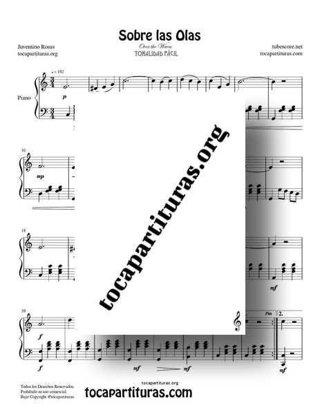 Sobre las Olas Partitura PDF Y MIDI de Piano Do Mayor Tonalidad Fácil 01