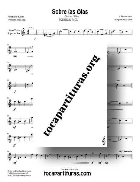 Sobre las Olas Partitura PDF Y MIDI de Saxofón Tenor y Soprano (Over the Waves) Do Mayor Tonalidad Fácil