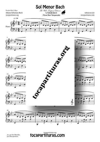 Sol Menor Bach Partitura Fácil de Piano Clave Bien Temperado Partitura DIDACTICA de Piano PDF MIDI PLANTILLA