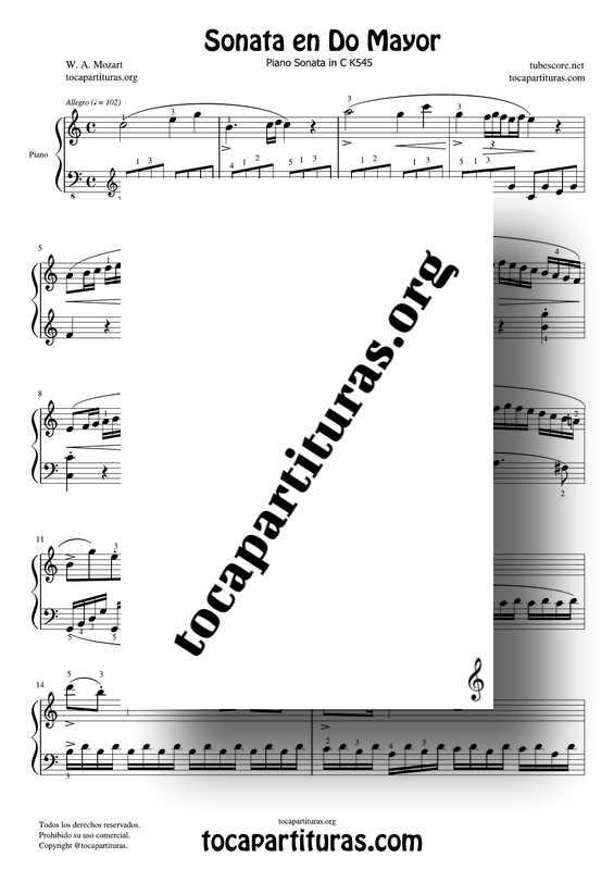 Sonata en Do Mayor Partitura de Piano Completa Mozart PDF y MIDI K545 con dedos1