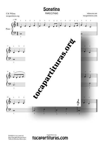 Sonatina Estudio de Piano Partitura PDF y MIDI de Piano Fácil principiantes