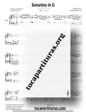 Sonatina in G Partitura de Piano Anh. 5 No.1 de Ludwig Van Beethoven