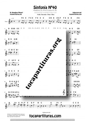 Sinfonía n.º 40 (Mozart) Easy Notes Sheet Music for Treble Clef (Violín, Oboe, Flute, Recorder…)
