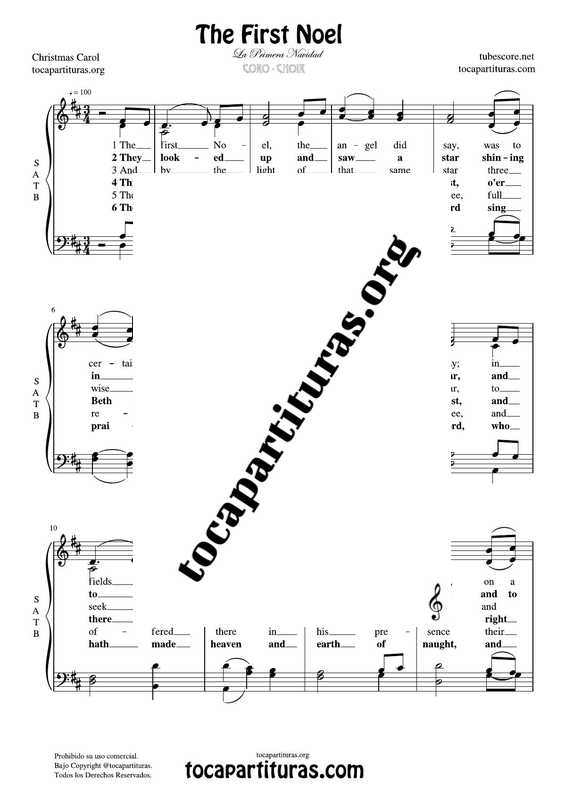 The First Noel (La Primera Navidad) Chorus PDF MIDI Sheet Music for 4 voices SATB CORO