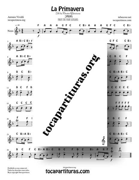 The Spring by Vivaldi Easy Version Notes Sheet Music for Violin Flute Recorder Oboe Easy PDF and MIDI