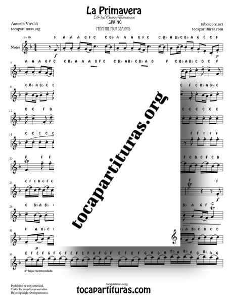 The Spring by Vivaldi Notes Full Sheet Music PDF and MIDI for Violin Flute Recorder Oboe Easy Tone