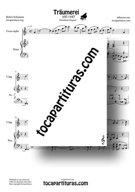 Traumerei de R. Schumann Op 15 Partitura Dúo Corno Inglés y Piano Acompañamiento Venta PDF MIDI