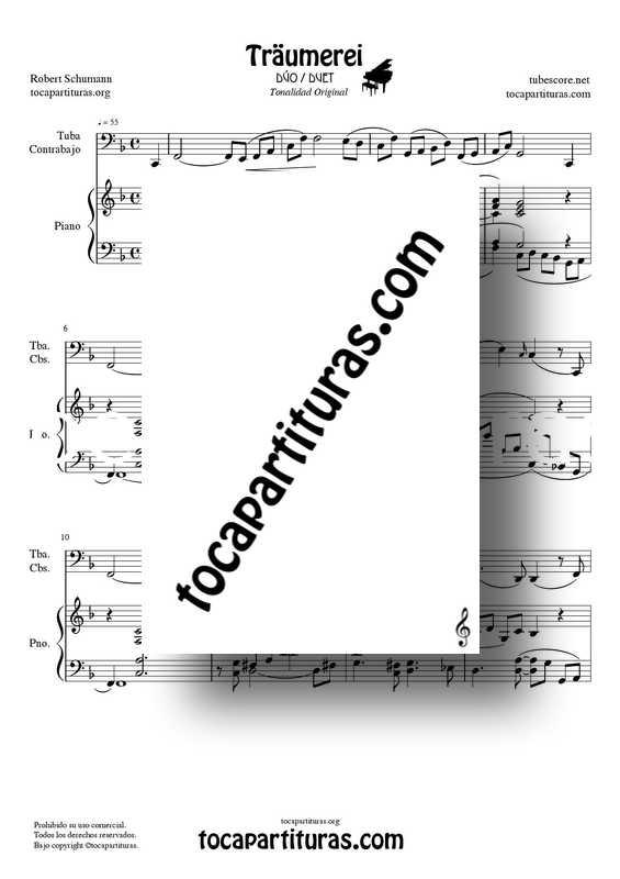 Traumerei de R. Schumann Op 15 Partitura Dúo Tuba : Contrabajo y Piano Acompañamiento