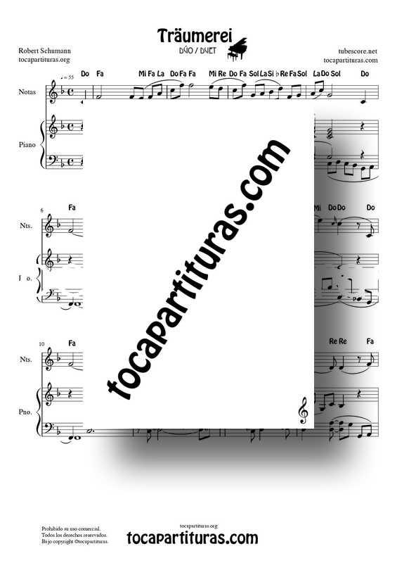 Traumerei de R. Schumann Op 15 Partitura Dúo con Notas y Piano Acompañamiento (Violín, Flautas, Oboe...) venta PDF y MIDI
