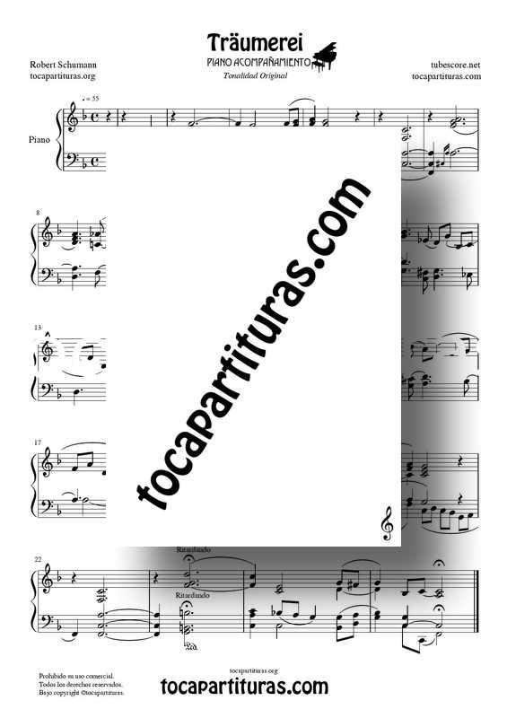 Traumerei de R. Schumann Op 15 Partitura Piano Acompañamiento venta PDF MIDI