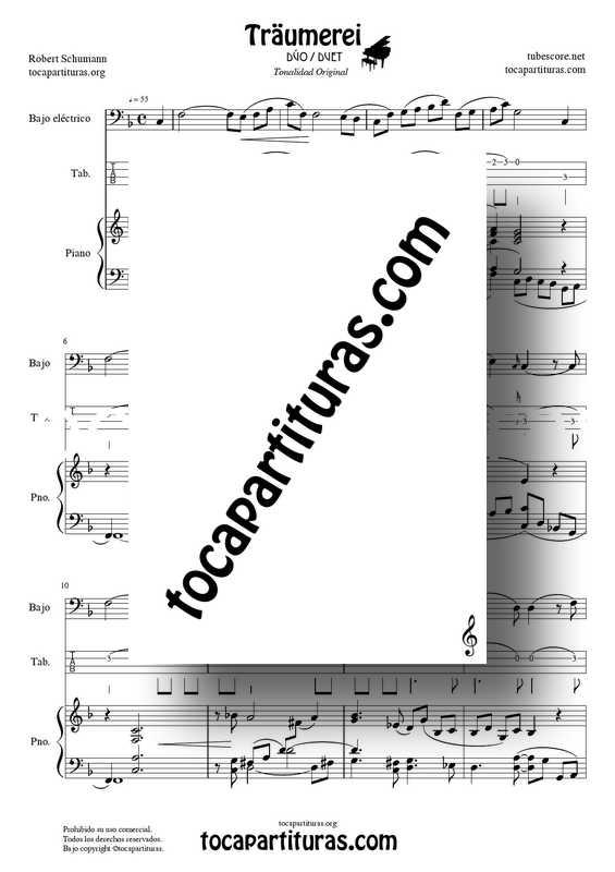 Traumerei de R. Schumann Op 15 Partitura Tablatura Dúo Bajo Eléctrico y Piano Acompañamiento (Punteo Tab) Traumerei de R. Schumann Op 15 Partitura Piano Acompañamiento venta PDF MIDI