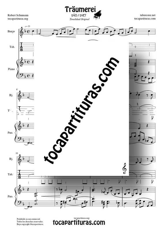 Traumerei de R. Schumann Op 15 Partitura Tablatura Dúo Banjo y Piano Acompañamiento (Punteo Tab) venta pdf midi