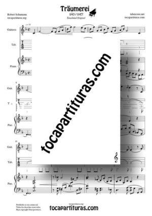 Traumerei de Shumann Partitura Tablatura del Dúo del Punteo de Guitarra (Guitar Tabs) y Piano acompañamiento