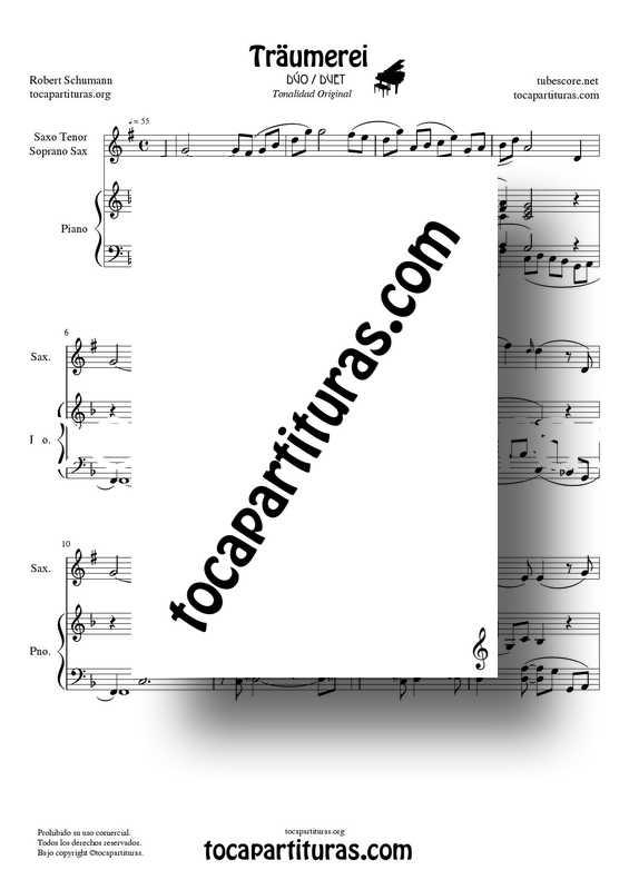 Traumerei de R. Schumann Op 15 Partitura Dúo Saxofón Tenor : Soprano Sax y Piano Acompañamiento venta pfd midi
