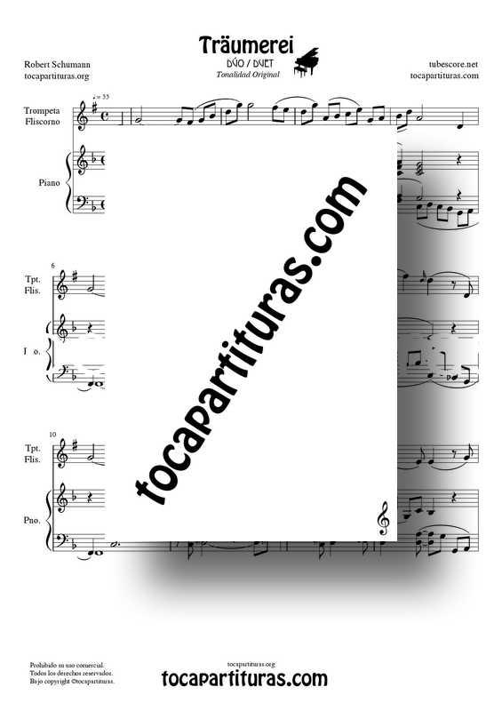 Traumerei de R. Schumann Op 15 Partitura Dúo Trompeta : Fliscorno y Piano Acompañamiento venta pdf midi