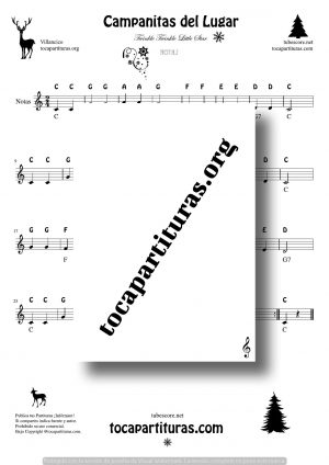 Twinkle Twinkle Little Star (Campanitas de Lugar) Easy Notes Sheet Music for Treble Clef for Flute Violin Harmonica and Oboe