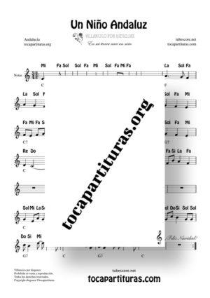 Un niño andaluz de diegosax Partitura con Notas en Clave de Sol (Villancico)