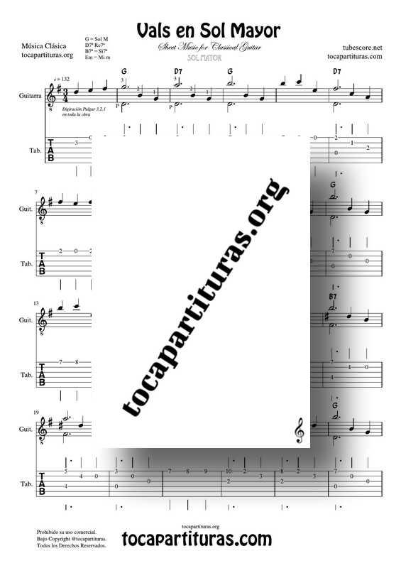 Vals para Guitarra en Sol Mayor Partitura y Tablatura Guitarra PDF y MIDI Clásica Waltz Sheet Music Tablature for Guitar in G