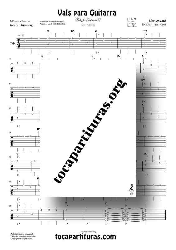 Vals para Guitarra en Sol Mayor Tablatura Guitarra Clásica Punteo Waltz in G Tablature for Guitar Tabs Fingering