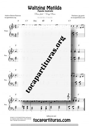 Waltzing Matilda Partitura de Piano Fácil en Fa Mayor (F)