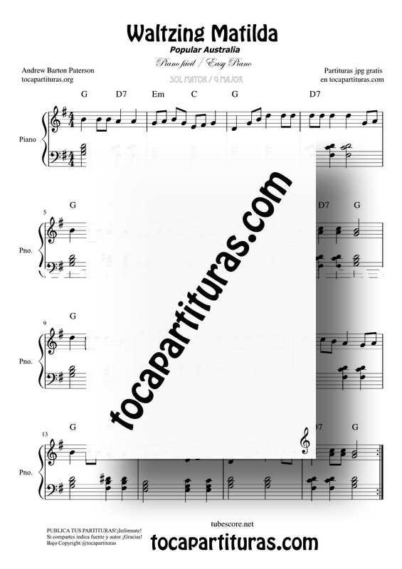 Waltzing Matilda Partitura PDF Y MIDIde Piano en Sol Mayor Fácil