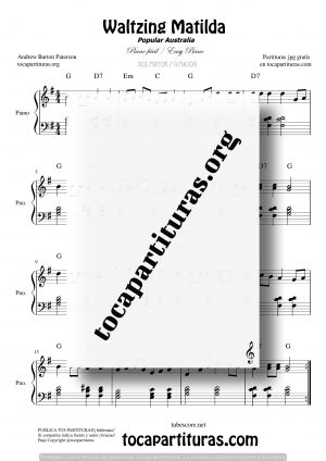 Waltzing Matilda Partitura de Piano Fácil en Sol Mayor (G)